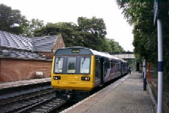 Marple train at Woodley station